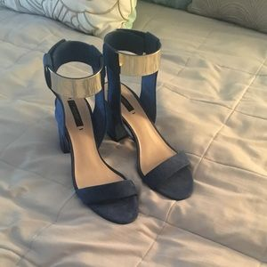 Blue Zara Block Heel with Metallic Ankle Strap